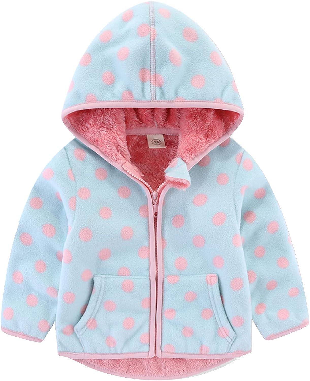ZXCC Kids Boys Girls Hooded Jackets Autumn Winter Casual Fleece Print Heavyweight Zipper Outdoors Coats Windbreakers