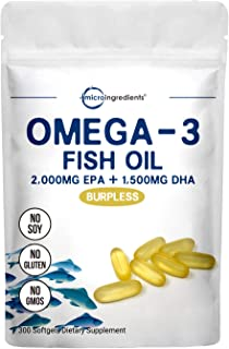 Triple Strength Omega-3 Fish Oil Supplement (Fish Oil Burpless), 3750mg Per Serving, 300 Softgels, EPA 2000mg & DHA 1500mg, Non-GMO