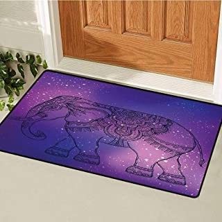 RelaxBear Elephant Mandala Inlet Outdoor Door mat Sketchy Hand Drawn Style Guardian Animal Print in Outer Space Image Catch dust Snow and mud W23.6 x L35.4 Inch Purple and Pink