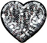 Siver Heart Sparkly Sequin Shine Shiny Patch Sew Iron on Embroidered Applique Craft Handmade Baby Kid Girl Women Sexy Lady Hip Hop Cloths DIY Costume