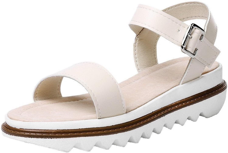 WeenFashion Women's PU Solid Buckle Open Toe Low-Heels Sandals
