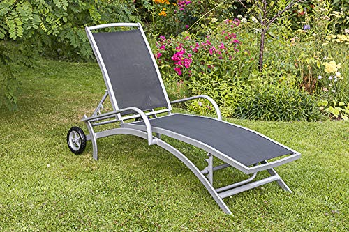 MERXX Amalfi Liege, Alu/Textil, 192x69x52 cm, 5-Fach verstellbar, rollbar, div. Farben schwarz