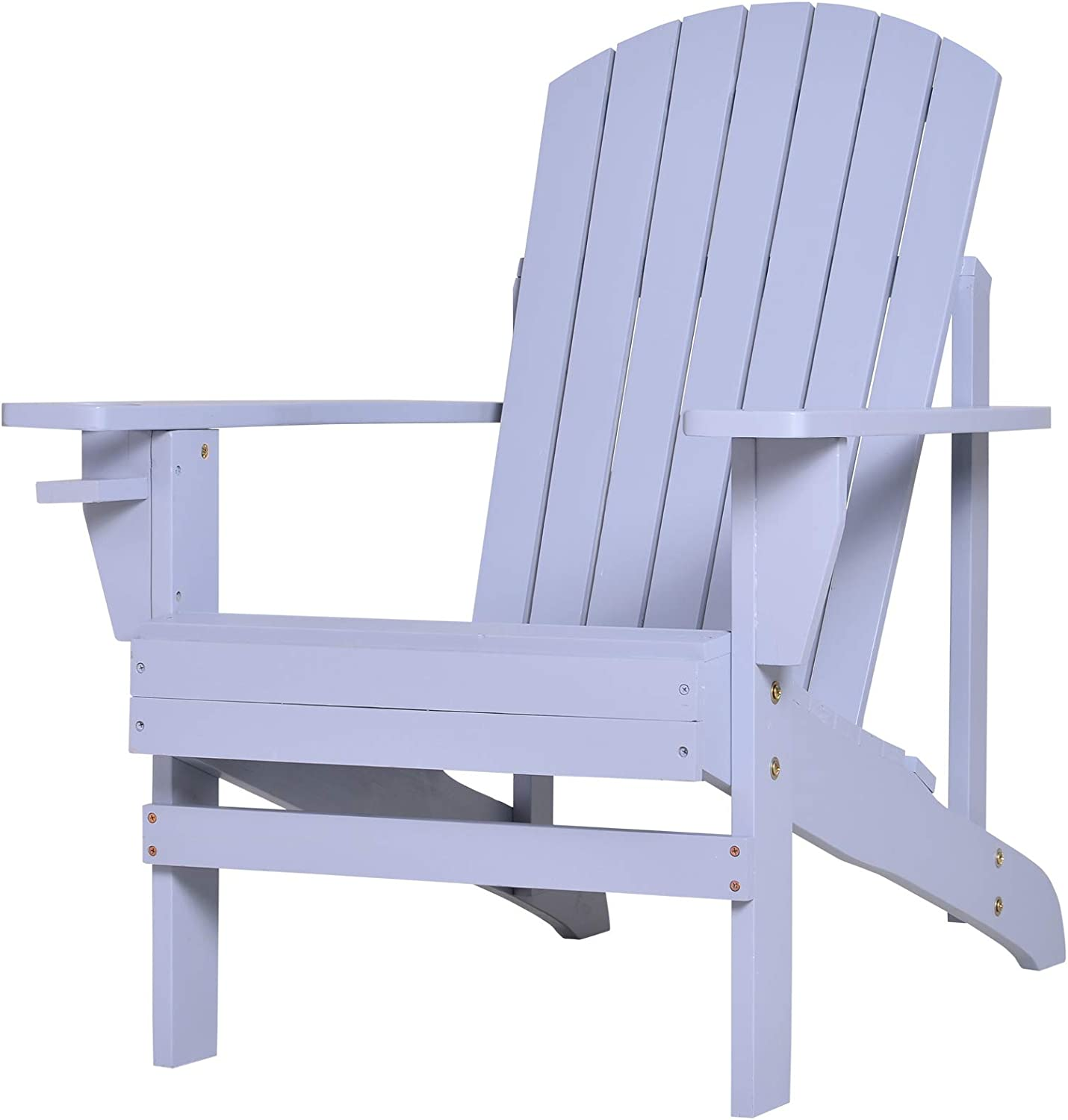 Special sale item Our shop most popular Outsunny Outdoor Classic Wooden Adirondack Lounge Deck Chair wit