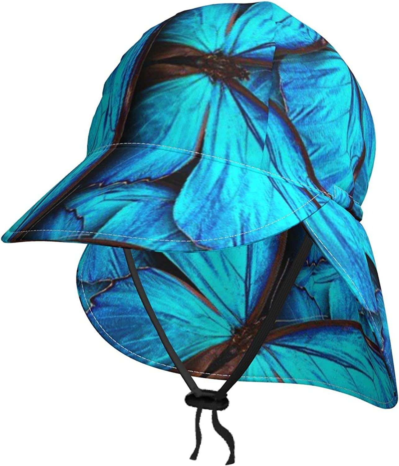 Many Blue Butterfly Kids Sun online shopping Hat Summer Flap B Neck with Very popular