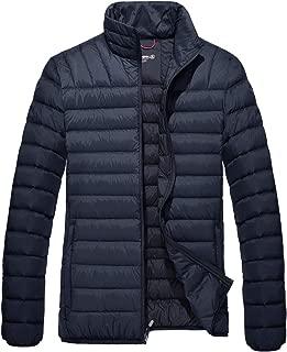 TACVASEN Men's Lightweight Winter Puffer Down Jacket Packable Jacket Full Zipper Coat