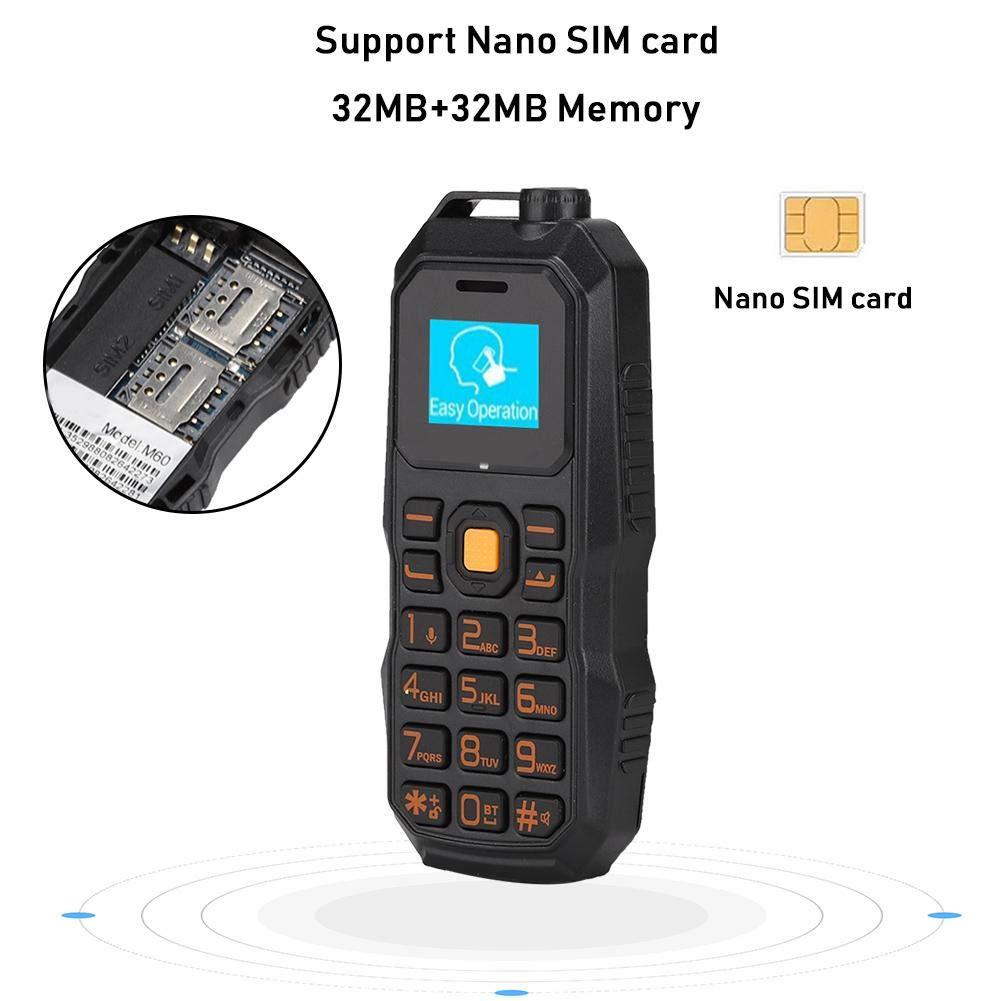 Teléfono Móvil Desbloqueado, Mini Auricular Militar BM60 Montado en la Oreja 32MB + 32MB 0.66in Bar Soporte para Teléfono Tarjeta Nano SIM(Negro): Amazon.es: Electrónica