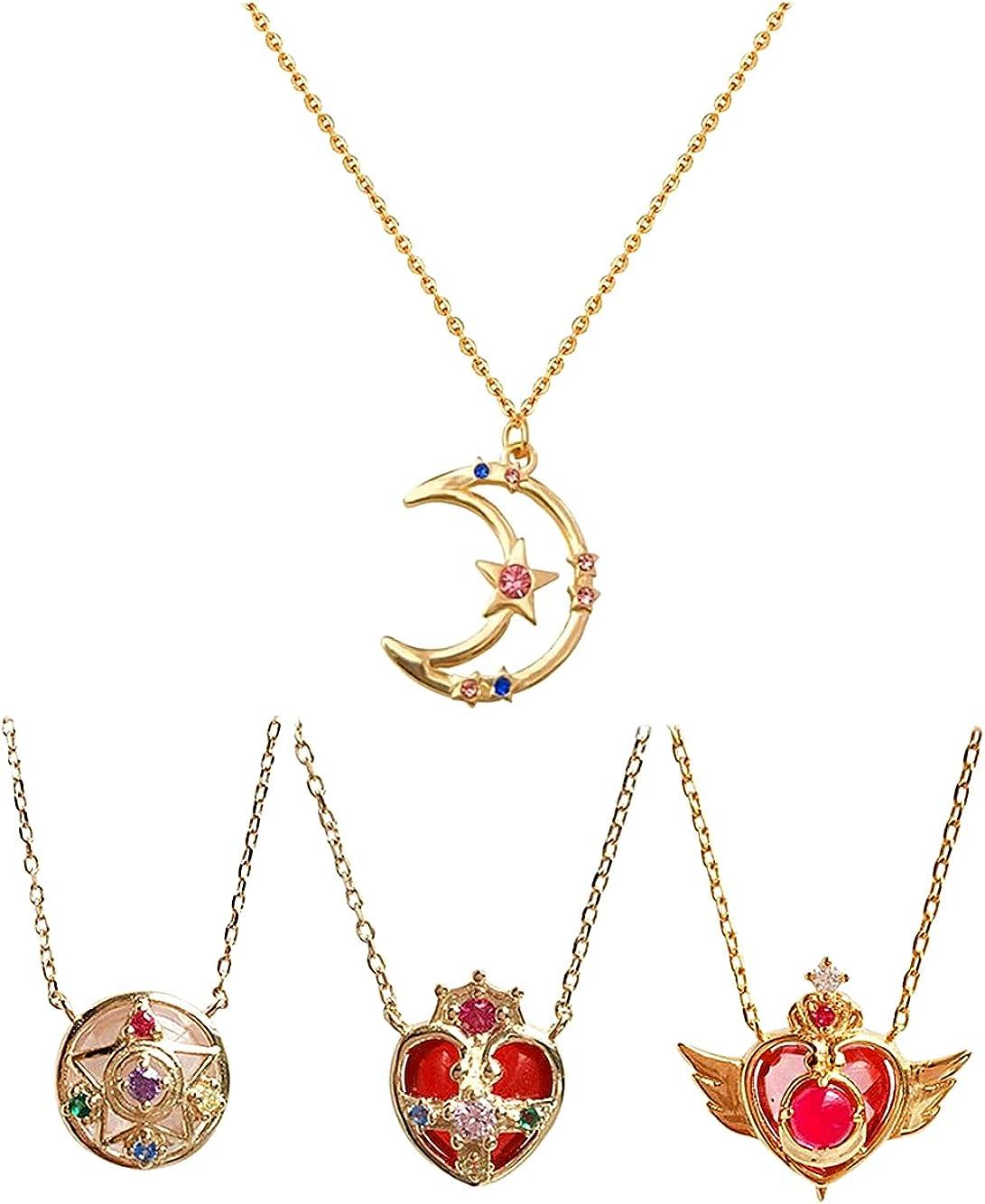 JSSPKJHPO 4 Pcs Anime Cartoon Sailor Moon Guardian Star Clavicle Necklace...