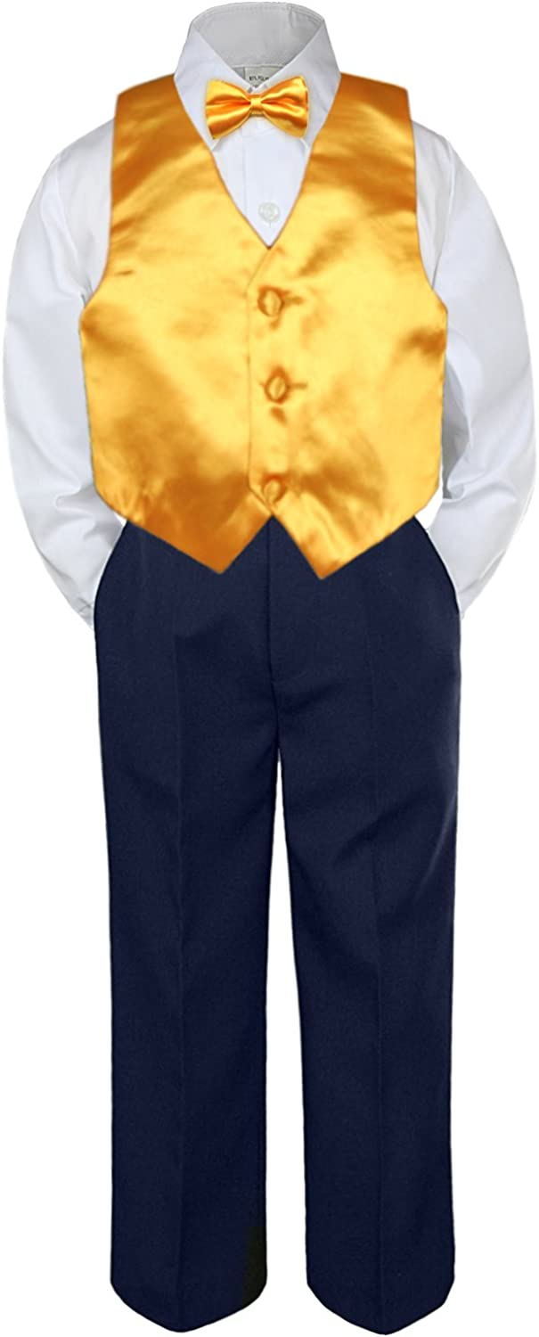 Low price Leadertux 4pc Baby Toddler Boy Yellow Tie Blue Vest Pan Navy Bow Finally resale start