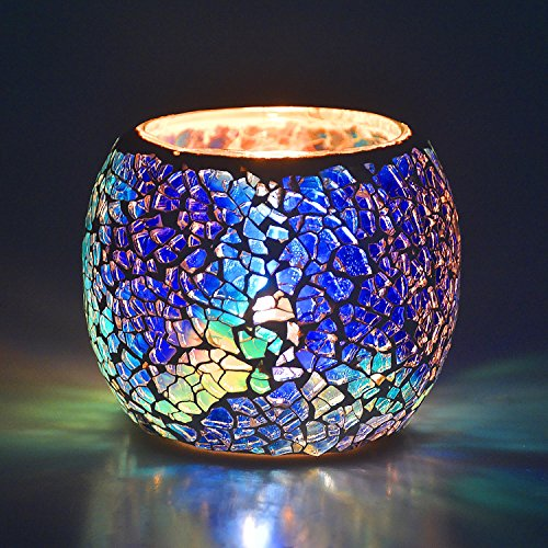 Scented Candle Holder Mosaic Glass Tea Light Holder,Handmade Romantic Glass Tealight Candle Holder for Aromatherapy,Party Décor(NO Candles),Also Used as Vase,Pen Holder,Potted Plants Bowl (Blue)