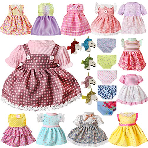 Voccim 22 Pcs Doll Clothes Dresses Outfits for Alive Baby Girl 13 14 15 16 Inch American Doll Clothes and Accessories Include 12 Clothing 5 Unicorn Hairpin and 5 Doll Underwear