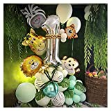 JSJJAWA Luftballons 48 stücke Dschungel Tier Party Folienzahl Ballons Set Wald Safari Dschungel Giraffe Kinder 1-9. Geburtstag Party Dekore Home (Color : Camouflage, Shape : 1)