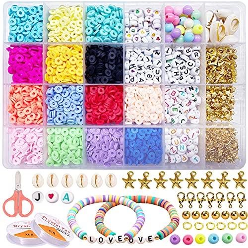 Set di Perline Fai da Te, Perline per Braccialetti, di argilla polimerica e perline colorate dell'alfabeto, creazione di gioielli regalo di San Valentino per bambini donne artigianale di gioielli