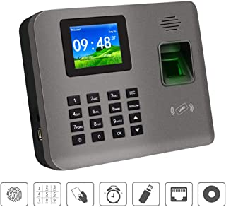 HFeng 2.4inch TCP/IP/USB Fingerprint Time Clock Attendance Machine Biometric System Software RFID Card Reader Password Employee Check-in Device, Support Backup Battery