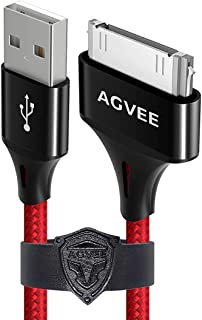 Agvee Unbreakable Nylon Braided [3 Pack 3ft 6ft 10ft] 30 Pin Heavy Duty Fast Charger Cable, Slim Metal Shell End Case Friendly Charging Data Cord for iPhone 4/4S, iPad 1/2/3, iPod, Red