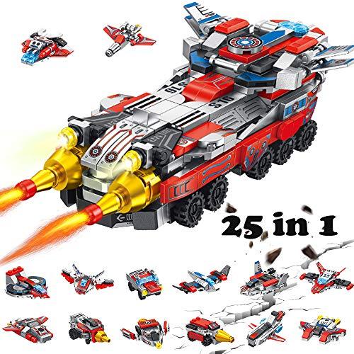 Yetech Vehículo de Combate Espacial Juguetes de construcción para niños,12 en 1 Stem Construcción Robot Juguete Ingeniería Building Blocks,Regalos Ideal para niños y niñas de 6-12 años