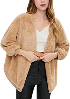 Autumn Winter Women's Fashion Plus Size Solid Color Loose Plush Warm Cardigan Coat
