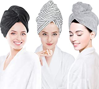 Laluztop 3 Pack Hair Towel Wrap for Women, Ultra Soft Hair Drying Towels, Anti-Frizz & Super Absorbent Hair Turban, Suitab...