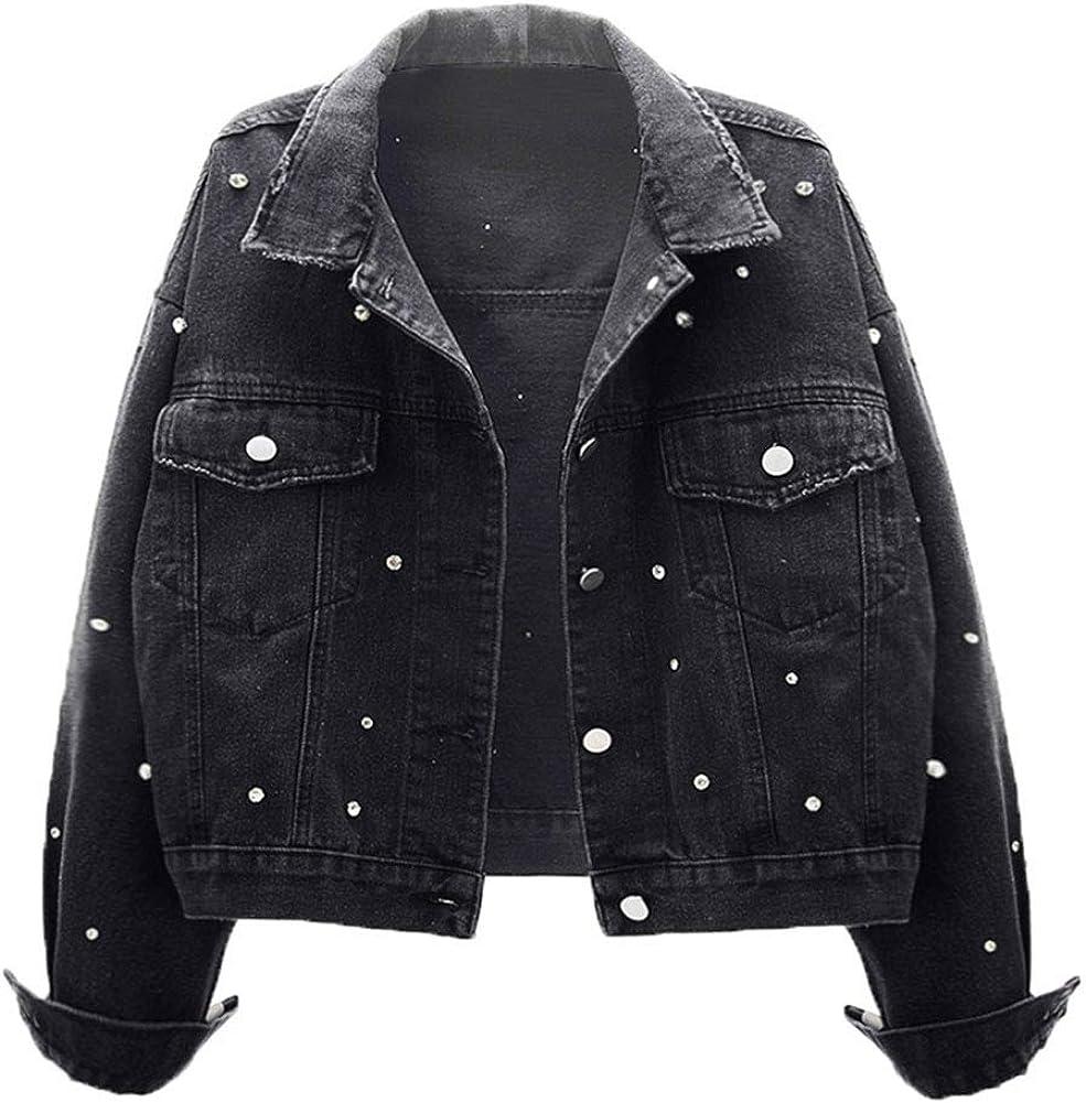 KEDERA Women Basic Denim Jacket Embroidered Beading Crop Jeans Coat