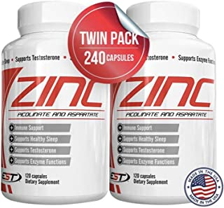 Zinc 50mg (8 Month Supply) TWINPACK Vitamin Supplements for Immune Support System, Zinc Picolinate for Adults Kids - Zinc Pills Offer Powerful Alternative to Lozenge, Chewable Tablets, Liquids