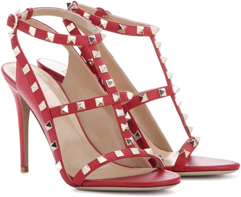 Miyoopark LS0620 Women's Rivet T-Strap Lambskin Leather Fashion Sandals