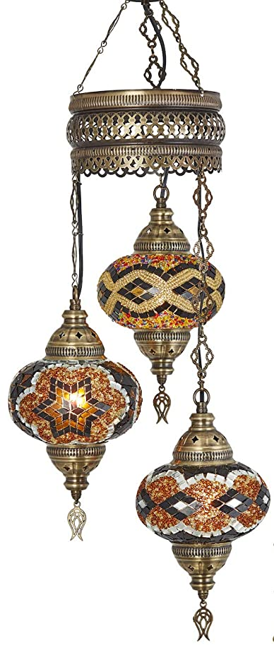 Demmex 2019 Turkish Moroccan Mosaic Hardwired OR Swag Plug in Chandelier with 15feet Cord Cable Chain & 3 Big Globes (Amber) (Amber (Hard-Wired))