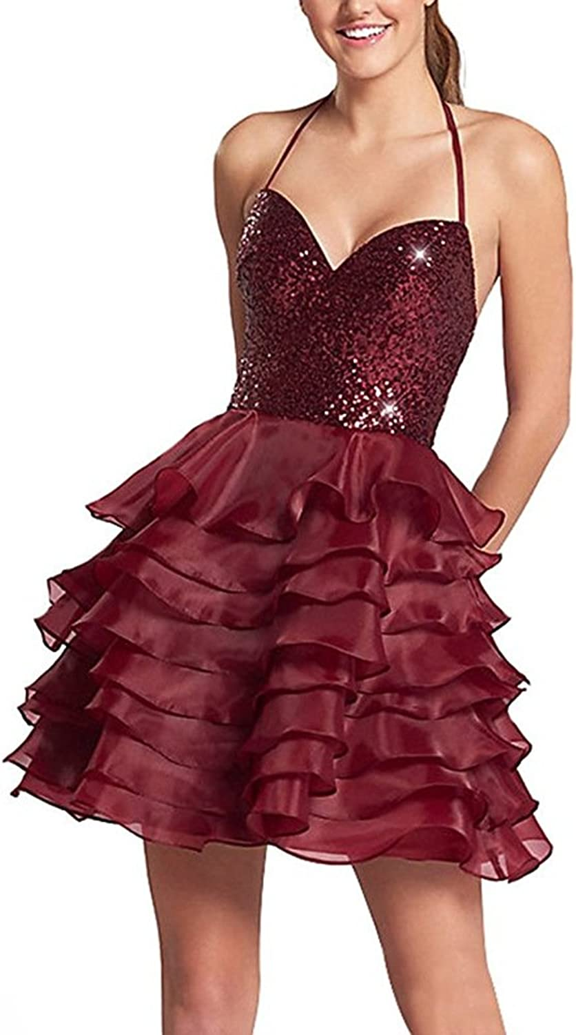 Staypretty Halter Sparkly Oraganza Backless Beaded Cocktail Dress Knee Length Homecoming Dress