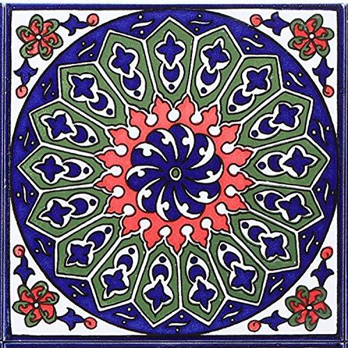 Casa Moro Orientalische Fliese Isa-13 14,8 x 14,8 cm handbemalte Keramikfliese Kunsthandwerk aus Palästina Wandfliese für schöne Küche Dusche Badezimmer Dekoration   FL8313