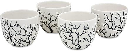 Preisvergleich für LIV INTERIOR 4X Eierbecher Branch aus Keramik schwarz weiß 4x4cm, handgefertigtes Design Geschirr Becher für Eier Eierbehälter