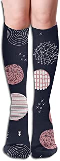 Stars And Planets In The Universe Sparkle Night Little Moon Blue Pink Elastic Mix 50cm High Socks Sports Socks Super Long Compression Socks