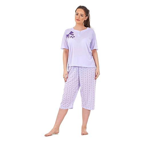 41ed95e572b Ladies Pyjama Set 3 4 Length Bow Print Short Sleeve V Neck Cotton Soft  Nightwear