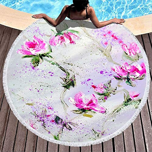 cnejduwud Large Circle Beach-Towels Pool-Towels Floral Pattern Throw Blankets Outdoor Picnic Mat Ultra Soft Super Water Absorbent Beach Throw for Yoga Picnic white7 59 inch