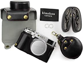 kinokoo Leather Camera Case for Fujifilm X100F and 23mm lens with shoulder strap storage bag and cleaning cloth  black