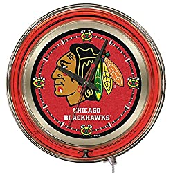 Holland Bar Stool Co. Chicago Blackhawks HBS Neon Red Hockey Battery Powered Wall Clock (15)
