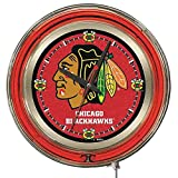 Holland Bar Stool Co. Chicago Blackhawks HBS Neon Red Hockey Battery Powered Wall Clock (15')