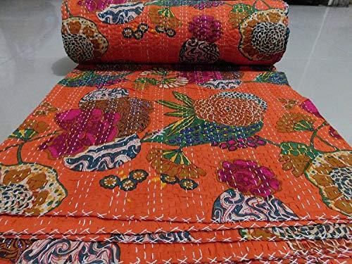 Colcha reversible con diseño de fruta india Gudri de algodón puro estilo Kantha, tamaño Queen, colcha de cama con estampado floral y fruta, colcha decorativa de punto Kantha 90 x 108 NCH. (Naranja)