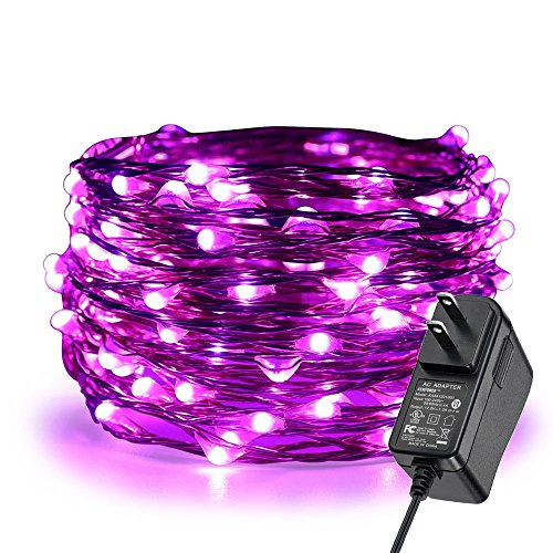ER CHEN Fairy Lights Plug in, 33Ft/10M 100 LED Starry String Lights Outdoor/Indoor Waterproof Copper Wire Decorative Lights for Bedroom, Patio, Garden, Party, Christmas Tree (Purple)