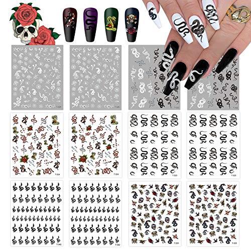 EBANKU 12 Sheets Snake Nail Art Stickers, 3D Nail Self-adhesive Hot Snake Pattern Nail Sticker Decals for Women Girls Nail Design Manicure DIY Decor Nail Art Accessories Decoration