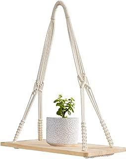 Mkono Macrame Display Wall Hanging Shelf Swing Rope Floating Shelves Home Decor, 20 Inches