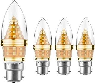 Bombilla de luz LED EKSAVE B22, bombilla de candelabro LED de 12W B22, equivalente a bombillas de luz de 80-100 vatios, bombillas de vela LED 1200LM, blanco,no regulable (6000K, 4 piezas)