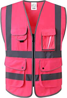 Class 2 High Visibility Safety Vest with 9 Pockets and Zipper ANSI/ISEA Standards 3Colour PINK (SMALL)