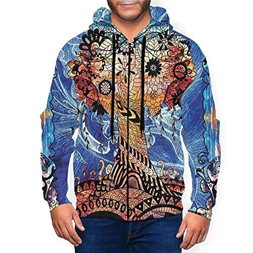 Sudadera con capucha para hombre con cremallera completa con capucha y diseño clásico con capucha, Trippy Retro Árbol con Flor Paisley Negro, XL