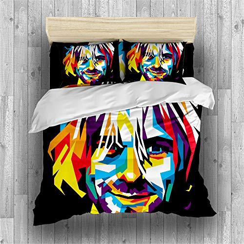 RIXI Rock Band Duvet Cover Set Nirvana Music Singer Bedding Sets,for Boy/Girl Bedroom,Duvet Cover with 2 Pillowcases(3PCS) or Sheet(4PCS),Single/Double/King Size (02,double(3pcs))