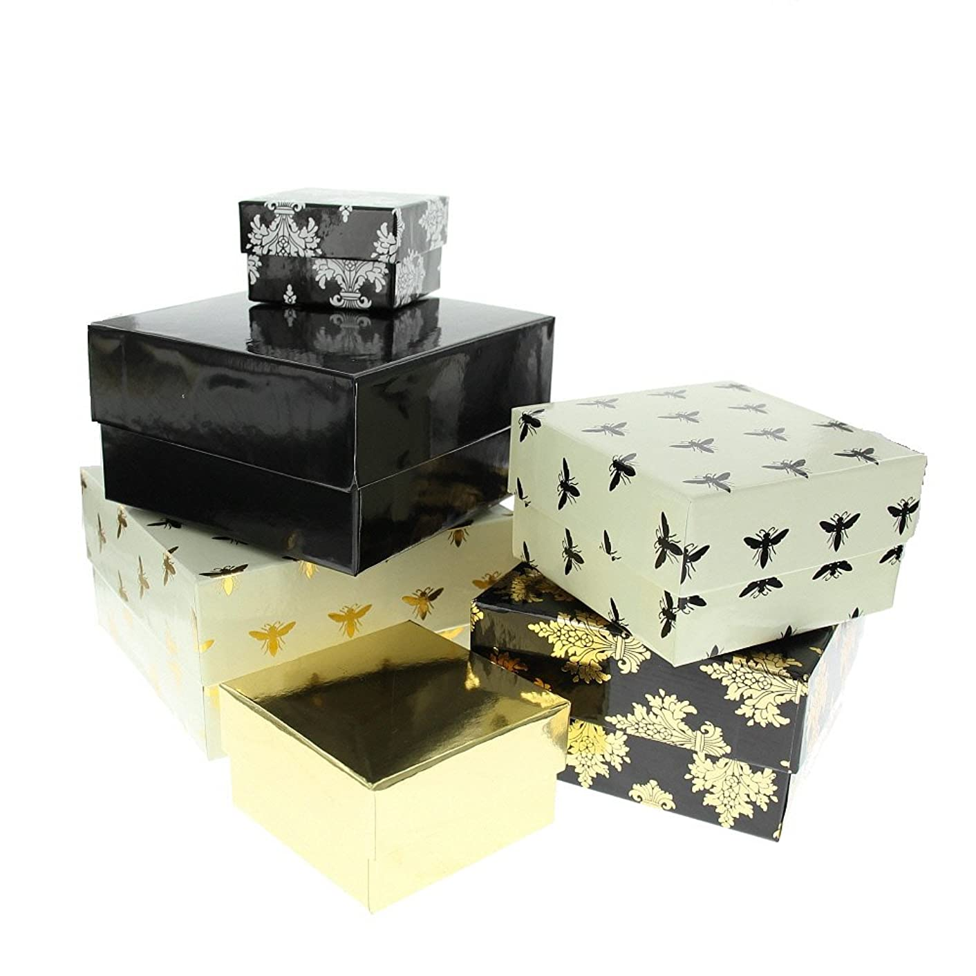 American Crafts DCWV Square Nested Box 6-Piece Set - Graduated Sizes, Ideal for Document/Gift Storage - Black, White, Gold