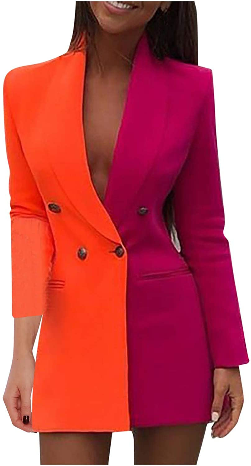 WUAI-Women Colorblock Casual Long Suits Jackets Turn Down Collar Double Breasted OL Work Bodycon Blazer Dress