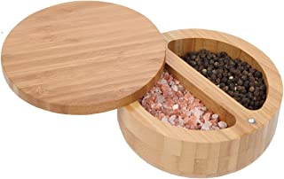 Lily's Home 2-in-1 Round Bamboo Container, Divided Spice Holder, Salt and Pepper Wooden Box with Magnetic Lock