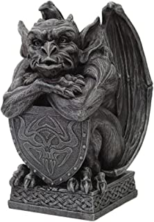 PTC 6.5 Inch Resin Medieval Gargoyle with Shield Protection Statue