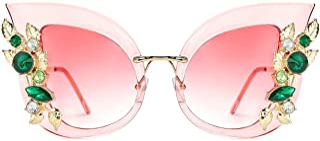 Large Jeweled Butterfly Shaped Sunglasses Oversized Cat Eye Rhinestone Sun Glasses Stylish for Women and Girls