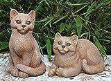 Steinfigur Katzen 2er Set - Terrakotta, Garten, Deko, Stein, Figur, Frostsicher