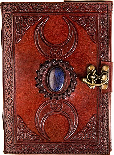 Urban Leather 3 Celtic Moon Lapiz Stone Journal with Lock, Grimoire Book of Shadows Witchcraft Wiccan Spellbook, Unlined