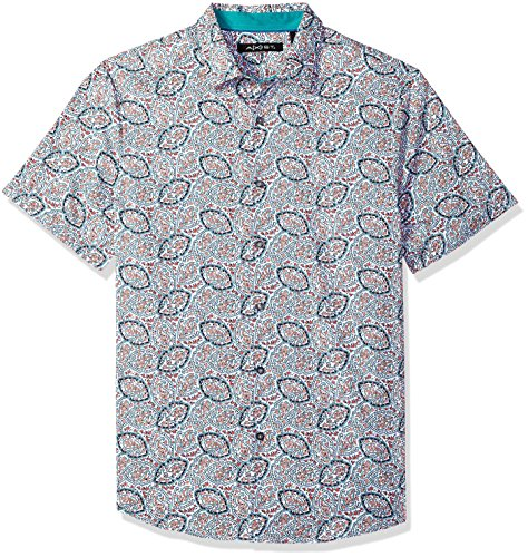 AXIST Men's Short Sleeve Allover Paisely Wovem, Coral Haze, X-Large